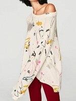 Women Loose Printing Irregular Sweaters White Graffiti Ripped Dipped Hem Long Sleeve Knit Sweater