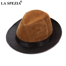 LA SPEZIA Men Fedoras Hats Brown Real Leather Classic Jazz Caps Gentleman Italian Design Genuine Spring Felt Trilby Hat