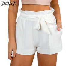 Casual Ruffle Waist Self Belt Bow Shorts Women Sexy High Waist Wide Leg Short Streetwear 2018 Summer New Plain Shorts Femme XXL
