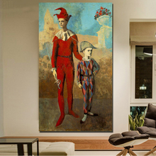 Pablo Picasso Acrobat And Young Harlequin Canvas Painting Living Room Home Decor Modern Wall Art Oil Posters Picture HD