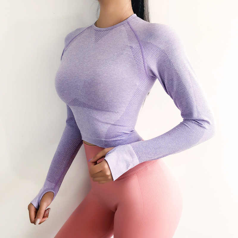 Vital Energy Seamless Long Sleeve Crop Top Shirts for Women Thumb Hole Yoga Shirt Fitted Gym Top Workout Running Shirts Clothes