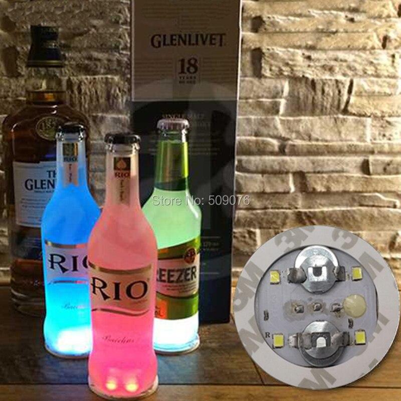 Livraison gratuite 6 pcs/lot logo personnalisé Clignotant led bouteille autocollant Cocktail Bar Clignotant LED Coaster mini LED Tasse Tapis