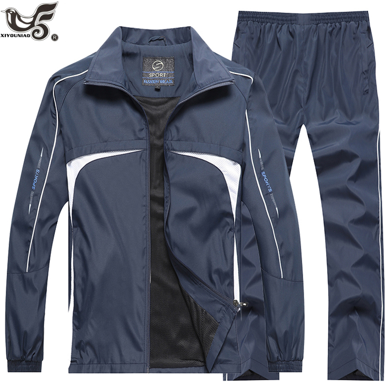 New Men's Spring Autumn Set Outwear Men Sportswear 2 Piece Set Sport Suit Jacket+Pant Sweat Suit Male Little Monster Tracksuit