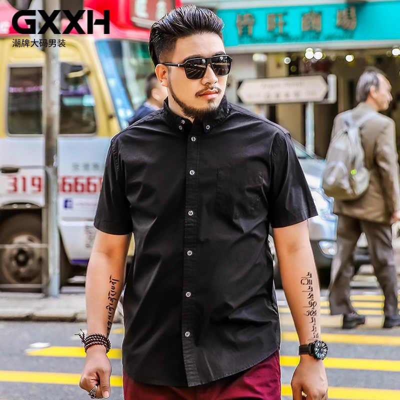 特大の男性店 GXXH プラスサイズメンズシャツ脂肪男ストリートスタイルの夏のメンズシャツ半袖カジュアル男性固体黒シャツ