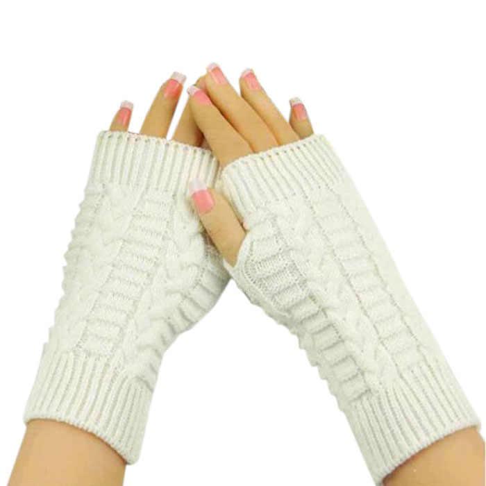 ถุงมือผู้หญิง guantes แฟชั่นอุ่นแขนถักลายนิ้วมือถุงมือฤดูหนาว Unisex Soft WARM Mitten ถุงมือฤดูหนาว