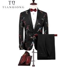 TIAN QIONG Men Suit 2018 Slim Fit Floral Print Suit Mens Wedding Suits Latest Coat Designs Black Prom Stage Wear (Blazers+Pants)