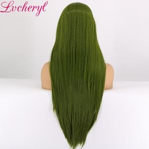 Image 3 - Lvcheryl 高温耐熱性繊維の毛ロングストレート緑の合成レースフロントウィッグドラッグクイーンコスプレメイク