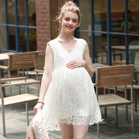 Maternity Lace Dresses 2018 Fashion Summer New Sleeveless V Collar Maternity Pregnancy Dresses Clothing For Pregnant