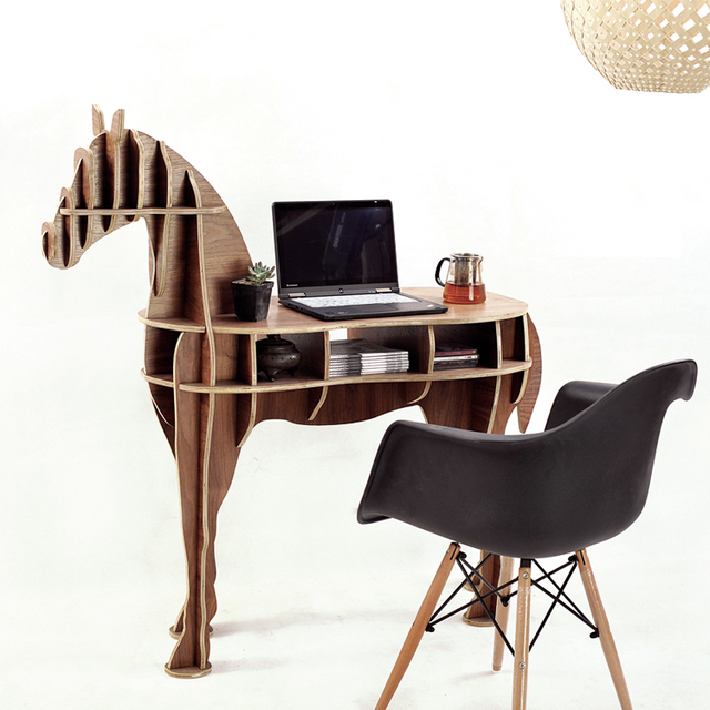 Delightful Wood Craft Horse Coffee Table Book Shelves Horse Desk Horse Table Wood  Furniture