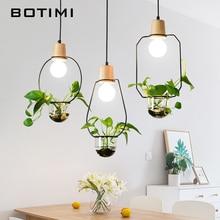 BOTIMI Nordic Pendant Lights For Dining Room Coffee Shop Hanging Light Fixture Rester Restaurant Bar Lamps Excluding Plant недорго, оригинальная цена