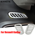 For Renault Kadjar 2015 2016 Car Front Air Condition Covers Chrome Trim Chromium Styling Air Outlet Decoration Auto Accessories