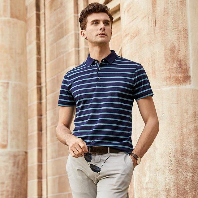 2019 Nuovi Uomini di Alta Qualità T Shirt di Seta degli uomini Breve maglietta del manicotto di Estate di Seta Uomo t shirt di Cotone della banda di sesso maschile t shirt - 6