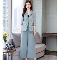 Women's suit new women's slim double breasted lace suit two piece (jacket + pants) women's fashion business casual suit
