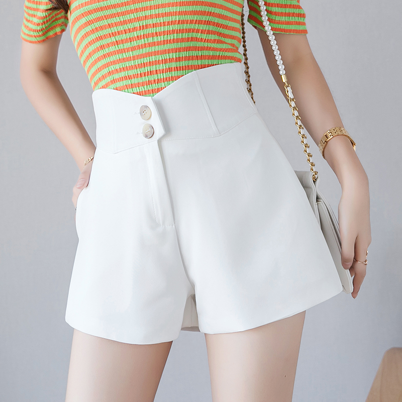 Buttons High Waisted Shorts For Women 2019 Summer Thin Slim Loose Short Pants A-line Wide Leg Irregular Chiffon Shorts Feminino