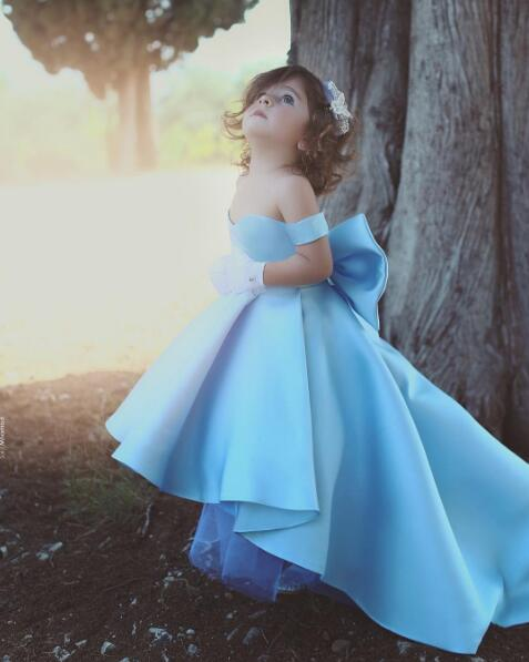 Light blue satin off the shoulder flower girl dress high low princess outfit for Toddler pageant special event lace up with bow