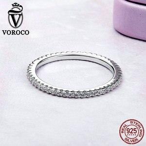 Image 3 - [[Kup 4 sztuk zapisz więcej 5%]]VOROCO prawdziwe 925 srebro proste obrączka brokat wyczyść kryształowa biżuteria CZ BKR066