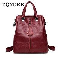 Women Multifunction Backpack Leather Tassel Shoulder Bag Large Capacity Backbag Female Zipper School Bag Girl Travel