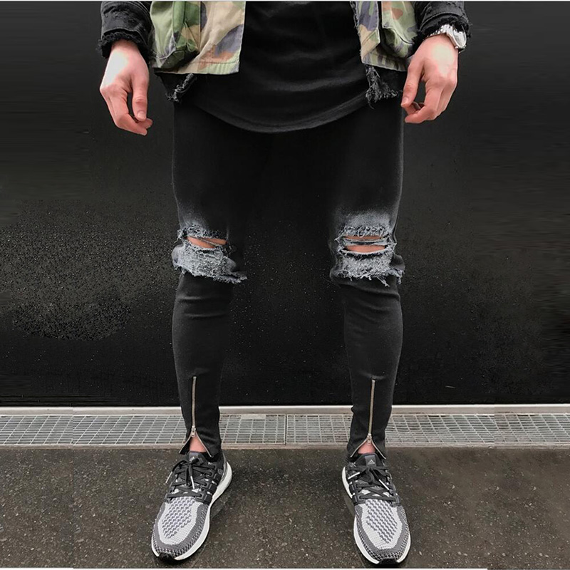 Knee Hole Mens Ripped Biker Jeans Fashion Bottom Ankle Zipper Slim Distressed Denim Pants destroyed Trousers black hip hop mens casual elastic ripped drape denim hip hop slim fit distressed biker jeans pants black straight pencil trousers multi zipper