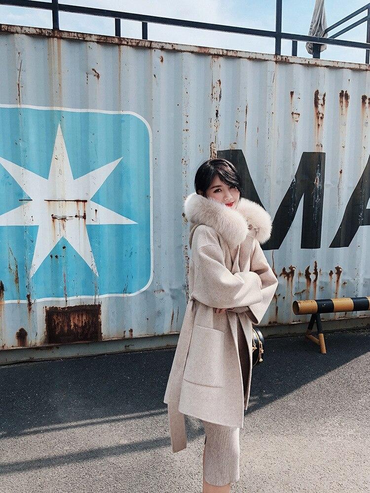 Manteaux Femelle À Survêtement Femmes D'hiver Renard Manteau Laine 2018 Fourrure Femme Nouvelle Capuchon De Mode Coréen wwp6PUq