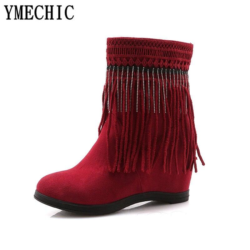 Automne Frange Cristal Perles Chaussons 2018 rouge Femme Mode Plus De Taille La Chaîne Ymechic Rouge Chaussures Dames Gland Noir Cheville Noir Bottes Talons zxqPSwAA5