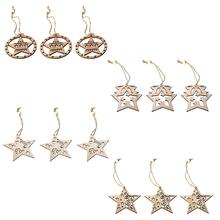 Wooden Nordic Vintage DIY Five-pointed Star Christmas Tree Showcase Decoration Pendant