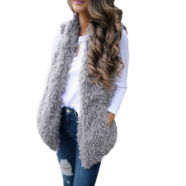 2020 Winter waistcoat for women Plush chalecos mujer Faux Fur Solid Casual Sleeveless Warm Vest Jacket warm cashmere cardigan 5
