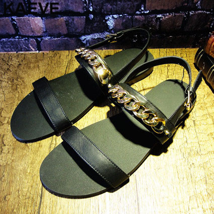 Open Toe Fashion Balck Sandals Leather Soft Men Gold Chain Flat Male Rome Hollow Summer Shoes In England