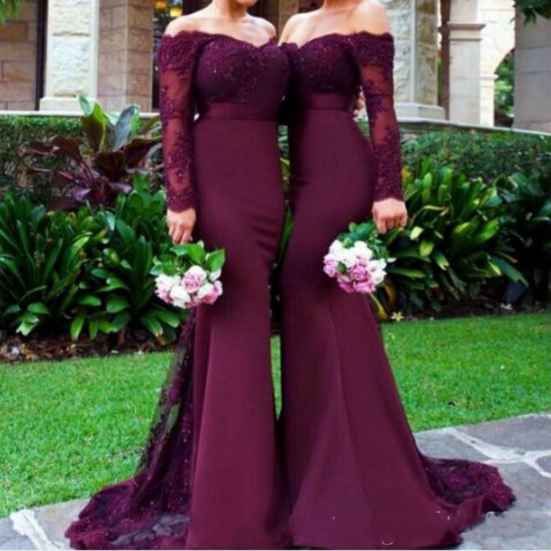 Elegant Lace Long Sleeve   Bridesmaid     Dresses   For Wedding Mermaid Sweep Train Beaded   Bridesmaid   Gowns vestidos largos