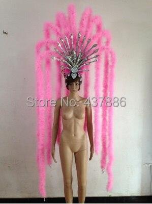 Rose bleu vert bar fête sexe personnage costumes danse costume plume coiffe poignet pour femmes sexy showgirl coiffure