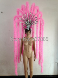 pink blue green bar party sex character costumes dance costume feather headdress wrist for sexy women showgirl headdress