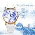 Relógios Das Mulheres Clássicas do Estilo Chinês do vintage Azul e Branco Da Porcelana Feminino Relógio Ladies Quartz Watch Relojes Montre Femme