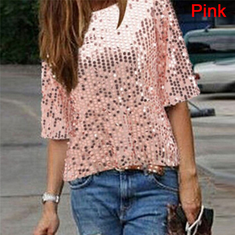 Women Ladies Sexy Off Shoulder Sequin Glitter Blouses Top Party Streetwear Summer Casual Loose Tee Mujer Blusas 2018 New Shirt