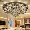 Candelabro Led regulable de Control remoto moderno Lustre K9 Cristal de cromo inoxidable lámpara de techo Led de lujo