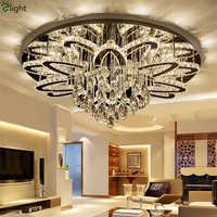 Foyer moderne de luxe Luminarias Dimmable Led Lustre de plafond Lustre K9 Cristal en acier inoxydable Chrome Led Lustre
