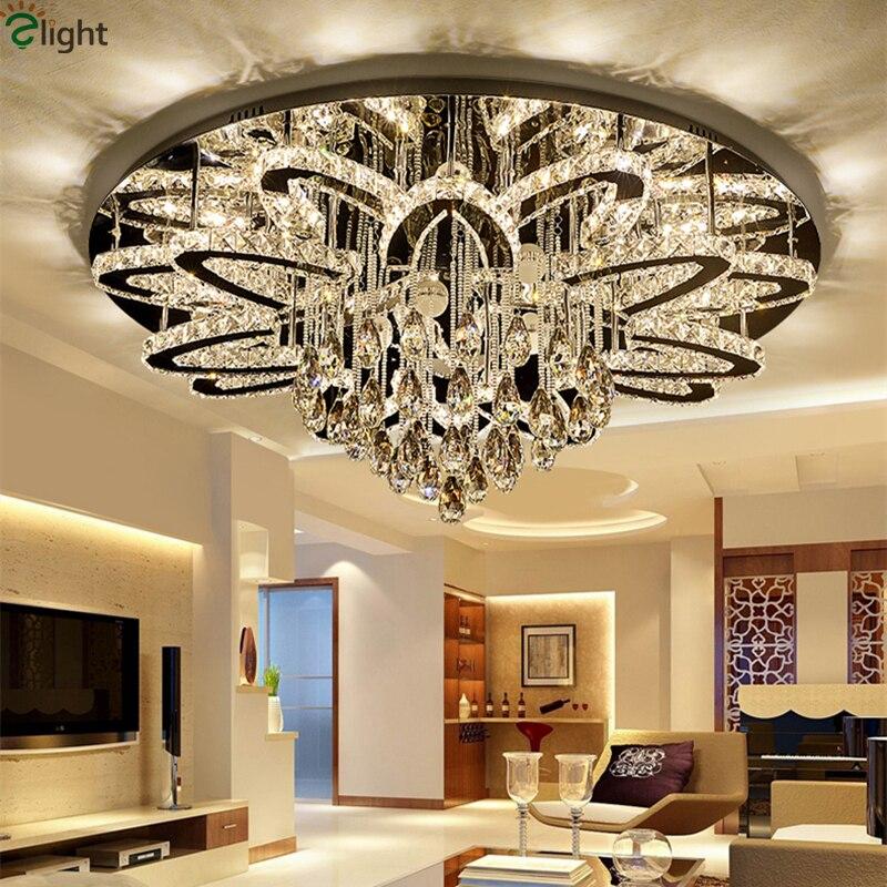 Moderne Télécommande Dimmable Led Lustre Lustre K9 Cristal Inoxydable Chrome Led Plafond Lustre De Luxe Foyer Lumière