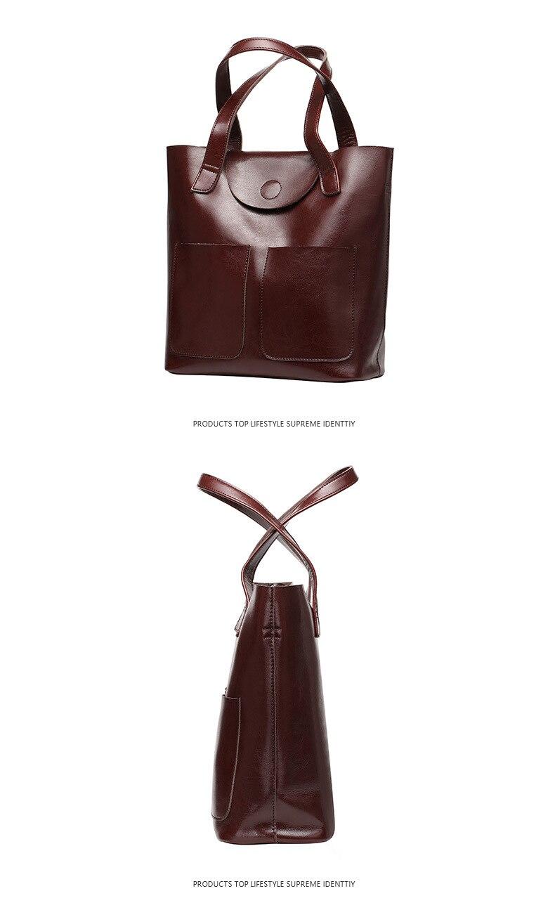 100% senhoras de couro genuíno saco grande