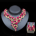 2016 new nigerian beads necklaces gold plated necklace and earrings  bridal jewelry sets for women six colors free shipping