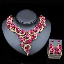 2016 nueva beads nigerianos collares chapados en oro collar y pendientes sistemas de la joyería nupcial de las mujeres de seis colores envío libre