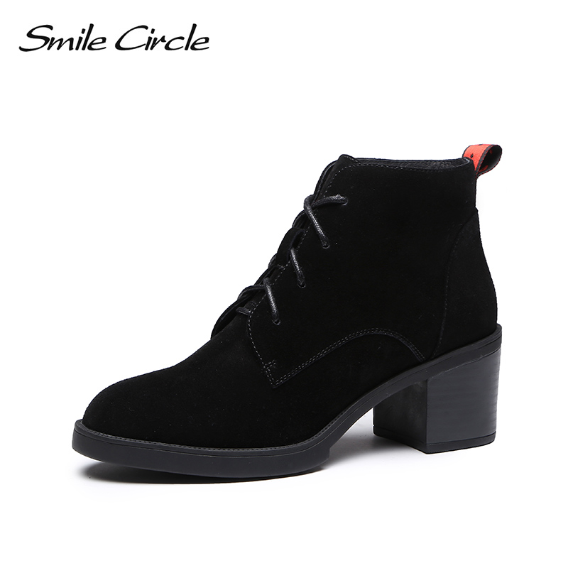 Smile Circle Ankle Boots women Cow Suede High heel shoes Autumn Winter 2018 Ladies Round toe