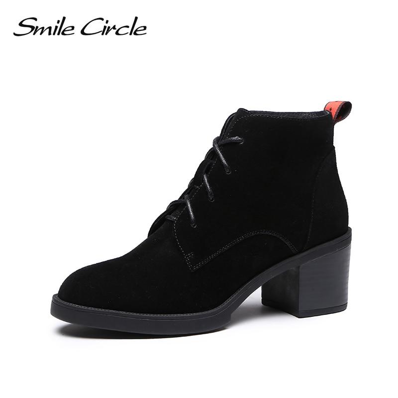 ابتسامة دائرة حذاء من الجلد النساء البقر المدبوغ عالية الكعب أحذية الخريف الشتاء 2018 السيدات جولة تو الدانتيل متابعة منصة امرأة أحذية بوت قصيرة-في أحذية الكاحل من أحذية على  مجموعة 1