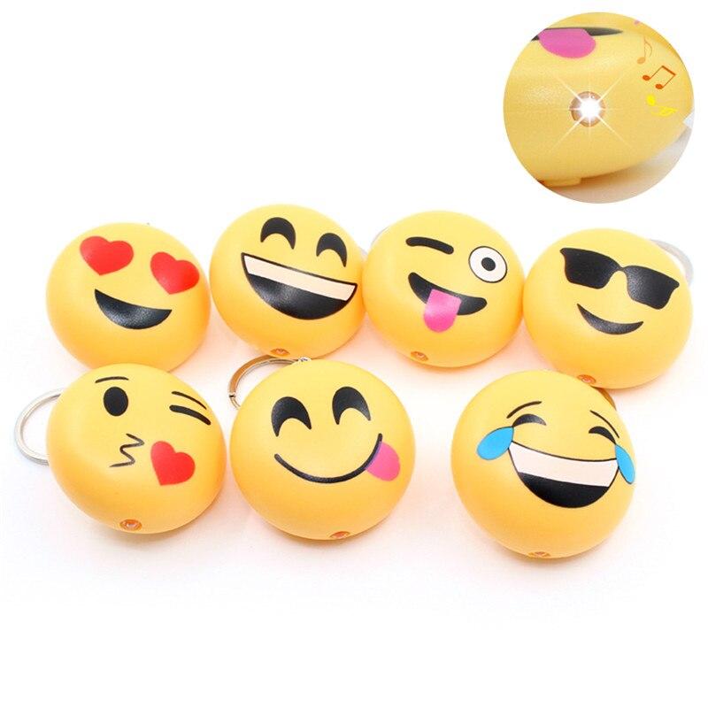 Emoji Design Led Keychain With Sound Flashlight Kid Keyring Kids Gifts Anti-stress Funny Toy Charms