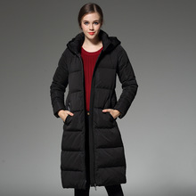 Europe station winter The New Solid color Thicker Waist Was thin Long section Down jacket