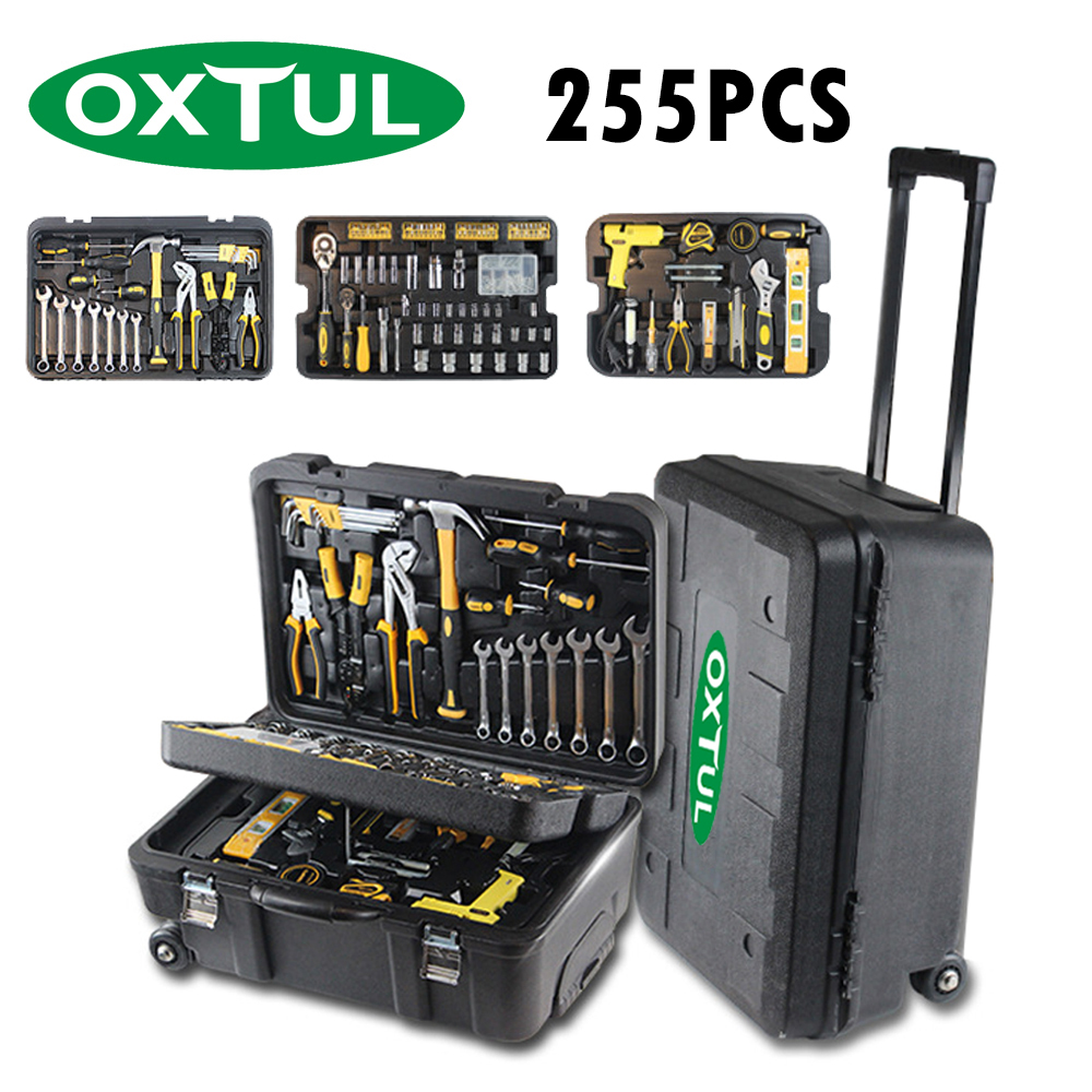 OXTUL 255PCS Professional Hand Tools Set +Rolling Tool Box Socket Wrench Ratchet Screwdriver Hammer Knife Tool Kit Storage Case