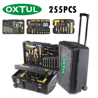 OXTUL 255PCS Professional Hand Tools Set +Rolling Tool Box Socket Wrench Ratchet Screwdriver Hammer Knife Tool Kit Storage Case