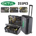 Oxtul 255 pçs profissional conjunto de ferramentas manuais + caixa de ferramentas rolamento chave soquete catraca chave de fenda martelo faca ferramenta kit armazenamento caso