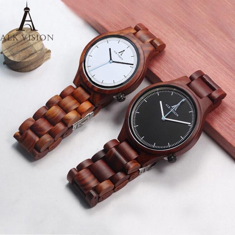 2019 Couple Wood Watch Fashion Quartz Ladies Wooden Watch Casual Lovers Wood Watch Women Men Top Brand Luxury Clock ALK Vision