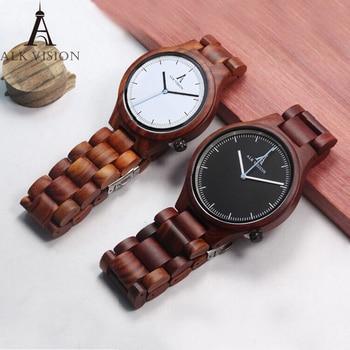 ALK Vision Couple Wood Watch Ladies Fashion Quartz Wooden Casual Lovers Watches Women Men Top Brand Luxury Clock