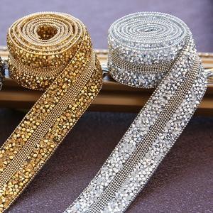 Bande de strass plaquée or argent 100CM | Hotfix, garniture de dentelle en pierres précieuses, perçage à chaud, rubans de chaîne perlée pour robe de mariée, bandes de ceinture