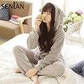 Kawaii Bear Style Hooded Pajama Women's Fleece Flannel Pajamas Set