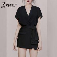 INDRESSME 2019 New Sexy V Neckline Short Sleeves Sashes  Mini Dress Little Black Office Ladies